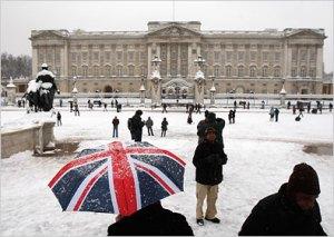 britain, snow, umbrella